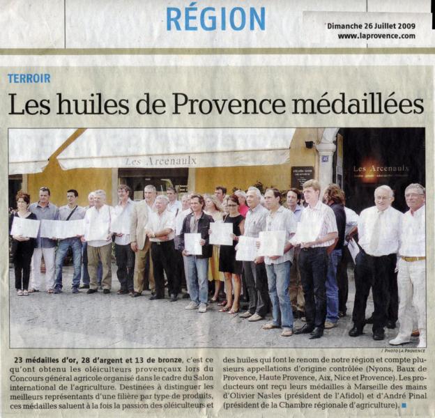 Les r compenses moulin bonaventure for Huile d olive salon de provence