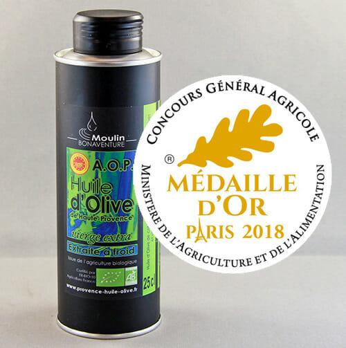 médaille d'or Paris 2018 Huile D'Olive bio AOP