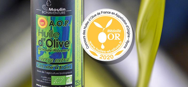 Médaille d'or AOP de Haute Provence au concours des huiles d'olive à Nyons